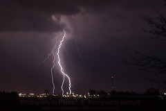 Lightning Over the Big Box Stores (Photography by Phos) Tags: city storm weather clouds landscape lights cg lightning stores chasing stormchasing chasers chathamkent bigboxstores