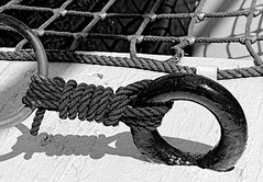 Tied Up (Basingstoke Hugh) Tags: shadow texture blackwhite rope nautical tied