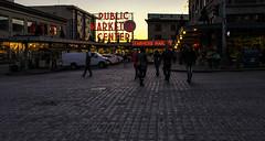 Public Market Center (rschnaible) Tags: seattle street light sunset evening washington twilight place pacific northwest farmers market low scene wa pike {vision}:{sunset}=0637 {vision}:{sky}=0724 {vision}:{outdoor}=0976