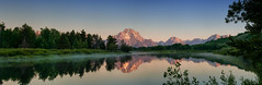 Sunrise at Oxbow Bend Panorama (Ronnie Wiggin) Tags: travel sunset sky usa mountains nature field clouds sunrise reflections landscape outdoors stream day jackson snakeriver kelly mountmoran tetons overlook grandteton jacksonhole scenics jh tetonrange mountainrange grandtetonnationalpark d300 jacksonlake usnationalpark teatons gtnp oxbowbend mtmoran jacksonwy snowcoveredmountains thethreebreasts moranjunction panoramanikon moranwyoming nikond300 lestroisttons rwigginphotos ronniewiggin ronniewiggin