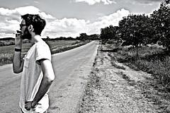 Beau gosse sans fille (allanbarnard) Tags: road light sun sunlight beautiful sunshine contrast dark walking french paul photography allan high amazing cool long view awesome away charles photographic smoking nicolas romania barnard desaturated roadside valentin epic rom hdr belinda beau gosse mathieu transalpina transfaragasan