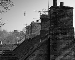 Sky Lines (ammgramm) Tags: uk england bw white black blackwhite cheshire naturallight roofs 1855mm chimneys aerials diagonals sandbach chimneystacks fujifilmxe2
