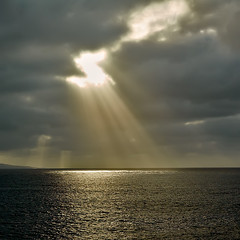 Let there be light (Nillshna) Tags: light sunset sky espaa sunlight nature sunshine grancanaria clouds landscape islands spain nikon europe view paisaje canarias squareformat rays canaryislands sunbeam islas islascanarias d90 dsc6018 nikkor35mmf18g nilleshna