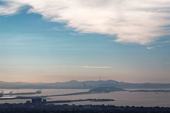 Think of a number and double it (hjl) Tags: sanfrancisco california bridge pink blue sky mountains color silhouette clouds port landscape oakland berkeley haze afternoon treasureisland pastel baybridge sanfranciscobay