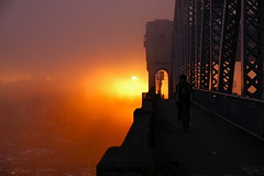 one foggy sunset (Eyesplash - What happened to winter) Tags: bridge sunset sun mist weather fog vancouver boats girders