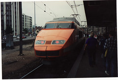 SNCF TGV at Dijon, 1989 (andreboeni) Tags: railroad france electric train dijon railway locomotive tgv highspeed sncf cheminsdefer