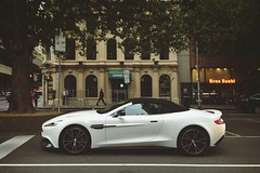 White Knight (lukemarkof) Tags: city morning light shadow black art classic car dark fun exposure play view outdoor style australia melbourne funky special exotic depth interest built astonmartin challenging v12 vanquish 2015 iphoneography