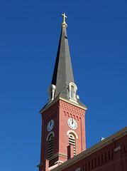 OH Cincinnati - St Rose Church (scottamus) Tags: old ohio brick church architecture cincinnati steeple spire hamiltoncounty strosechurch