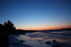 Winter Venus, Mars, Moon conjunction (artseejodee) Tags: blue trees winter sunset mars orange moon cold color ice beautiful river landscape frozen colorful venus nj february icy frigid southjersey brrr aries brr crescentmoon f35 boatramp tuckahoe conjunction capemaycounty feb20 uppertownship