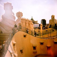 La Pedrera (JoetheLion) Tags: barcelona espaa rooftop lomo xpro crossprocessed spain diana dianaf casamil lapedrera