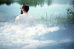 film (La fille renne) Tags: sky lake man film nature water analog 35mm xpro lomography hiking doubleexposure hike lomolca multipleexposure crossprocessing agfa mx agfactprecisa100 splitzer lafillerenne