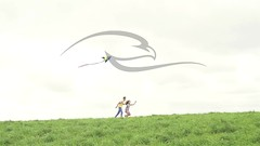 Boy And Girl With Kite On A Field (alekseiptitsa) Tags: summer vacation sky people sunlight holiday kite man game cute girl childhood fun outside happy person freedom fly flying kid child play wind outdoor joy young lifestyle teen together recreation activity caucasian