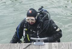 DUI diver (chemsuiter) Tags: harbor dive diver drysuit duiclx