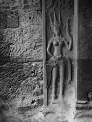 P1100492 (ian_harbour) Tags: bw sculpture monochrome temple cambodia angkorwat carving relief angkor apsara