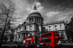 Londonism (Alex Chilli) Tags: red sky people white black bus london clouds mono spring cathedral may stpauls colourpop