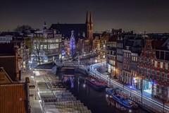 Original street view (karinavera) Tags: street longexposure travel urban netherlands amsterdam night canal cityscape spot aerial exploration muntplein nikond5300
