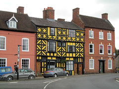 Black and yellow (pefkosmad) Tags: street old uk england house black building yellow architecture town shropshire medieval tudor ludlow halftimbered relic timberframe