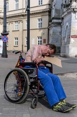 no skin, no hope (PFP | Albatross) Tags: burned people man wheelchair d lodz ludzie poland polska pentax photojournalism 35mmf24 kr street color city