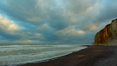 Breath (KerKaya) Tags: leica blue sea sky seascape storm france beach nature water clouds sunrise landscape lumix coast wind salt cliffs panasonic shore normandy fz200 kerkaya