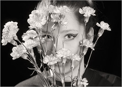 Youth Blooms (Michael Patnode) Tags: flowers portrait people blackandwhite bw girl monochrome photoshop kid child surreal mikepatnode nikond300s