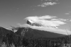 Mount Rundle, Alberta (Royal Canadian) Tags: blackandwhite bw mountain canada clouds landscape peak ridge alberta banff rockymountains transcanadahighway canmore mountrundle