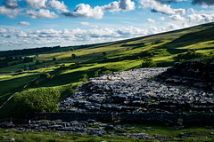 Long Shadows over Malham Cove (jasonmgabriel) Tags: tree wall clouds landscape scenery gate shadows cove yorkshire limestone fields dales malham