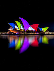 Colorful (silardtoth) Tags: ocean new city travel sky urban house color reflection building water beautiful festival closeup wales architecture night bay harbor opera theater cityscape harbour background south famous central sydney sails vivid australia circularquay landmark icon quay nsw newsouthwales cbd operahouse iconic circular
