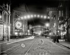 "Charleston, South Carolina, circa 1910. ""King Street lights at night."" 8x10 inch dry plate glass negative, Detroit Publishing Company. [2800 x 2214] #HistoryPorn #history #retro http://ift.tt/1TQR3px (Histolines) Tags: history glass inch south detroit plate dry x retro 8x10 charleston company negative carolina timeline 1910 circa publishing 2800 2214 vinatage historyporn histolines kingstreetlightsatnight httpifttt1tqr3px"