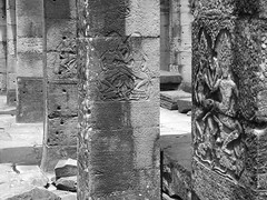 P1100270 (ian_harbour) Tags: bw sculpture monochrome temple cambodia carving relief angkor apsara