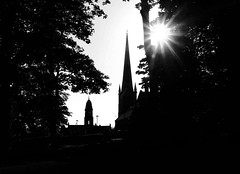 Lisburn Cathedral and Market House, Co. Antrim, from Castle Park (John D McDonald) Tags: park trees sun tree tower church silhouette gardens geotagged cathedral spire northernireland sunburst ni anglican contrejour coi ulster lisburn countyantrim againstthesun coantrim churchofireland castlegardens markethouse lisburncathedral castlegardenslisburn christchurchcathedrallisburn castlegardenspark castlegardensparklisburn lisburnmarkethouse irishlinenmuseum lisburnmuseum