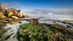 Seashore with green algae (Hendraxu) Tags: ocean travel sea summer seascape travelling water rock stone landscape island seaside asia algae seashore