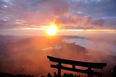 Mt Fuji Sunrise (Arndted) Tags: morning sky sun japan fog clouds sunrise landscape nikon nikkor torii mtfuji d90 18105mmf3556