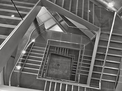 Exit Strategy (Douguerreotype) Tags: city uk england urban blackandwhite bw london monochrome architecture stairs square spiral mono britain steps gb british helix