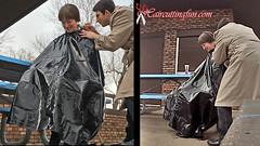 Kat's Outside Inside Inverted Bob Haircut (kat_surth) Tags: haircut outdoors high highheels vinyl bob heels cape hairsalon salon nylon carmens beautyshop haircutting invertedbob bobhaircut haircuttingfun haironchair katsurth
