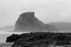 Lion Rock (Jim Davies) Tags: newzealand northisland aotearoa photography analogue film veebotique 35mm roadtrip olympus om10 50mm slr 400asa monochrome analog auckland kodak bw400cn chromogenic c41 piha beach volcanic tasmansea coast manukauharbour waitakereranges blacksandbeach
