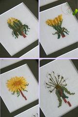 Lwenzahn Butterblume Kreuzstich (StickenMitStil) Tags: sommer gelb grn blume frhling lwenzahn butterblume kreuzstich handgearbeitet stickenmitstil
