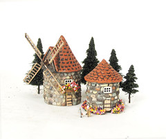 Z Scale Windmill and Hermitage (Bewilder and Pine Miniatures) Tags: handmade polymerclay handpainted handcrafted tinyhouse scalemodel modelrailroad miniaturehouse