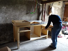 Drawer going in (4kiku) Tags: bench for pottery atelier