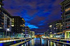 Clarence Dock, Leeds, At Night - Explored 01/06/13 (mark_mullen) Tags: uk longexposure architecture buildings reflections lights apartments dusk leeds architectural illuminated latenight westyorkshire urbanlandscape summersolstice redevelopment tiltshift clarencedock lightevenings canon24mmtse canon5dmk3 markmullenphotography