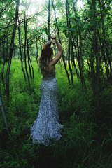 jungle woman (bcarlya) Tags: green nature girl grass forest silver hair dress formal prom curly brunette sequins grad tanned