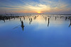 tranquility (Thunderbolt_TW) Tags: sunset sea sky sun reflection water windmill night canon landscape cloudy taiwan 夕陽 台灣 日落 風景 windturbine 彰化 changhua 風車 彰濱 西濱 肉粽角 彰濱工業區 風景攝影 hsienhsi 線西 5d2 changpingindustryarea