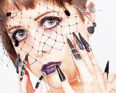 cs (Alex t Kyle) Tags: portrait closeup mouth hair chains eyes hand fingers lips nails ear highkey brunette nailart kpcccrit