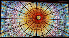 Under the Magnificent Skylight (Barcelona) (Cloudwhisperer67) Tags: world barcelona city trip travel roof light red urban sculpture music orange building art heritage love glass yellow wall by architecture de landscape photography la site amazing concert spain ceramics cityscape colours with artistic interior stage great under central arts skylight piano palace unesco explore espana filled organ lovely nouveau jewels scape msica palau magnificent masterpiece colonnade glazed catalana decorated ornamentation llus montaner catal distinctive catalogne floralpattern domnech orfe 2013 hx9v cloudwhisperer67
