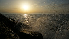 Sunset at Sea (pohuman) Tags: sunset sea sky sun clouds droplets rocks sony turkiye wave splash blacksea karadeniz deniz bulutlar gökyüzü rize günbatımı güneş dalga kayalar iyidere damlacıklar nex6 sonynex6 selp1650