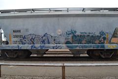 (huntingtherare) Tags: train bench graffiti 100 whore freight shrink srt rollingstock stk as benching