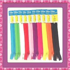 RAEWADOLLY 10pc 5inch YKK Zipper (Raewadolly Shop) Tags: pink blue red orange white black green purple stitch sew clothes zipper ykk 5inch raewadolly