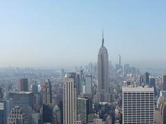 Manhattan (Gemini~Girl) Tags: sky usa newyork buildings lumix day manhattan foggy panasonic empirestate rockefeller dmczs8