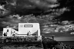 half moon club (zip po) Tags: street sky dublin cloud monochrome wall mono evening coast pier fishing south swimmer halfmoonclub blackandwhitesea