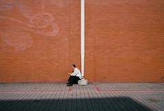 (Matt Obrey) Tags: street red white man colour film wall birmingham voigtlander bessa streetphotography portra r4m birminghamstreet
