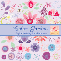 color garden (merwinglittle dear) Tags: digital scrapbooking embroidery fabric elements crafting motifs